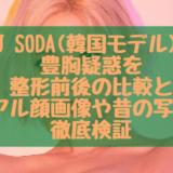 DJ SODA(韓国モデル)の豊胸疑惑を整形前後の比較と卒アル顔画像や昔の写真で徹底検証